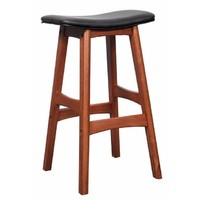 Gangnam Bar Stool Timber Antique Maple Frame Black Padded Seat 680mm High
