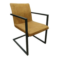 Modern Sled Based Metal & Suede Padded Brown Dining Chair