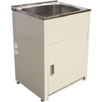 ECT Global Laundry Cabinet Sink Trough 45 Litre Stainless Steel Tub Bypass & Outlet Lavassa LD 6151