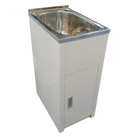 ECT Global Laundry Cabinet Sink Trough 30 Litre Stainless Steel Tub Bypass & Outlet Lavassa LD 3756