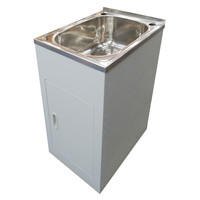 ECT Global Laundry Cabinet Sink Trough 35 Litre Stainless Steel Tub Bypass & Outlet Lavassa LD 4500