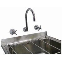 Cleaners Laundry Sink Stainless Steel Mop Trough with Brackets & Vabene Wall Sink Set