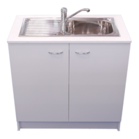 Kitchen Sink + Mixer + Cabinet Cupboard Laundry Storage Unit RHB White 900mm Seytim Builders Package