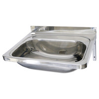 Hand Wall Basin Sink Stainless Steel Bathroom Single Bowl Round Corners 50cm x 40cm x 21cm