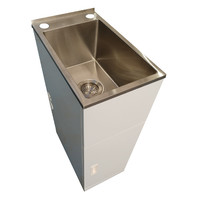 Laundry Tub and Cabinet Trough Nugleam 21 Ltr Compact Unit Brushed Finish Everhard Industries 71N2100