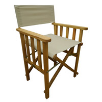 Directors Outdoor Folding Deck Chair Timber Side Slats Polyester Beige