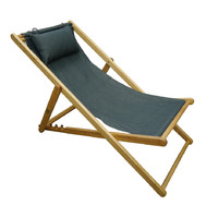 Deck Chair with Pillow Timber Folding Outdoor Furniture Anthracite