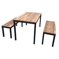Dining Table and Bench Seats Galvanised Powder Coated Black 1500mm Wide Setting Beer Garden Outdoor Furniture Set