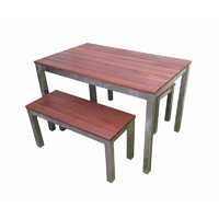 Swan Street Dining Table and Bench Seats 3 Piece Setting Beer Garden Outdoor Pub Bar Furniture Set 1200mm Wide Galvanised