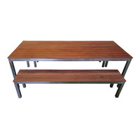 2400mm Wide Dining Table and Bench Seats 3 Piece Setting Beer Garden Outdoor Pub Bar Furniture Set Galvanised