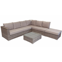 Shelta Ontario 4pc Flat Wicker Corner Modular Aluminium Outdoor