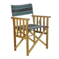 Directors Outdoor Folding Deck Chair Timber Side Slats Polyester Duck Turquoise Blue