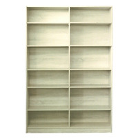 Riteway 6 Shelf Bookcase Bookshelf 1795mm x1205mm x 336mm Melamine Natural Oak