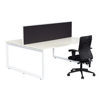 RapidLine Double Sided Metal Workstation with Black Divider Office Furniture 1200mm x 700mm White