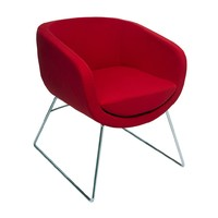 Rapidline Vistors Chair Chrome Sled Base Red Fabric Seat Splash Cube