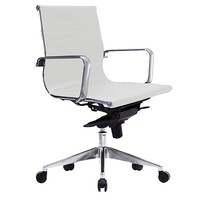 Style Ergonomics Executive Seating Adjustable Low Back Chair White PU WEB-LW