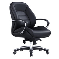 Style Ergonomics Leather Executive Seating Medium Back Adjustable Black MAGNUM-L