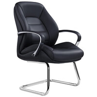 Style Ergonomics Leather Boardroom Executive Seating Med Back Visitors Chair Black MAGNUM-VC