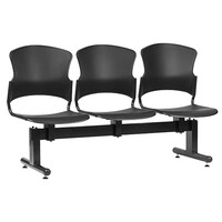 Style Ergonomics Beam Seating Visitors Chair 3 Seats Welded Frame Black FOCUS F-BEAM-3