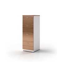 Filing Cabinet Lockable 4 Drawer Premier Office Furniture Storage 1320mm H x 468mm W Virginia Walnut White