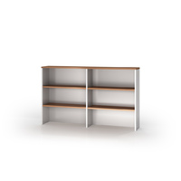 Overhead Hutch Premier Office Furniture Desk Top Shelving 1080mm H x 1500mm W Virginia Walnut White