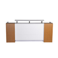 Rapidline Marquee Reception Counter Desk Gloss White / Zebra Veneer