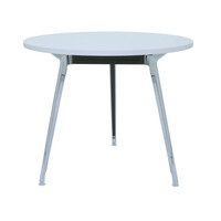 Rapidline Round Meeting Table Chrome Base 900mm White Melamine Round Top Rapid Air