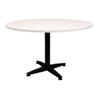 Rapidline 4 Star Round Meeting Table Black Frame 900mm White Melamine Round Top