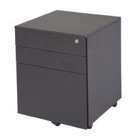 Rapidline Metal Mobile Pedestal Filing Cabinet 2P 1F Black Satin