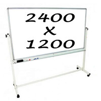 Whiteboards Direct Mobile Whiteboard Double Sided 2400 X 1200mm Pivoting Commercial Magnetic Writing Board