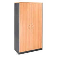 Swan Lockable Stationery Cabinet 1.8m H x 0.9m W Beech/Charcoal