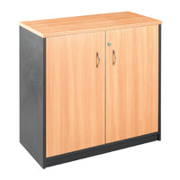 Stationery Cupboard 2 Door Cabinet Lockable 720mm x 900mm Beech Charcoal