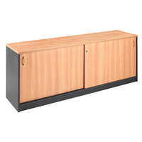 Buffet 2 Doors Lockable Cabinet 720mm H x 1800mm W Cupboard Beech Charcoal