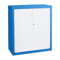 Tambour Cupboard Steel Adjustable Shelves 2 Door 900mm Wide Stationery Lockable Wedgewood