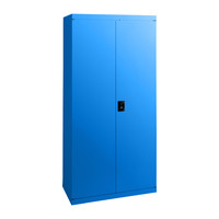 Economy Stationery Cupboard Steel Adjustable 3 Shelves 2 Door 1850mm High Lockable Cabinet Blaze Blue