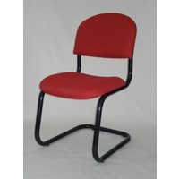 Chairlink Visitors Medium Back Chair Office Boardroom Seat Black Frame Milan Red