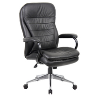 Office Chair Leather High Back With Arms Pillow Top Cushioning Furniture Seating Titan Black YS05H