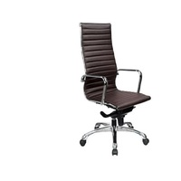 Prodigy Executive Office Chair High Back Replica Eames Chrome Image Black