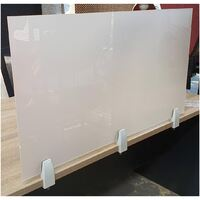 Table Desk Perspex Screen 6mm Partition Sneeze and Cough Guard Protection 600w X 900mm Sky Light White