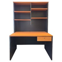 Swan Street Office Desk with Drawer and Hutch Computer PC Writing Table Furniture 1200mm x 750mm Charcoal Beech