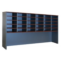 Merlin 30 Hole Pigeon Hole Hutch Bookcase 1800 W x 330 D x 1080mm H Titanium English Pear