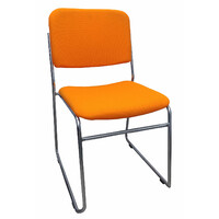 Prodigy Visitors Office Chair Sled Base Office Seating Chrome Evo Rod Orange