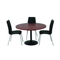 Excel Meeting Round Table 1200 D x 720mm H Black Disk Base West Jarrah Top