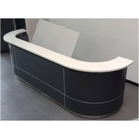 Executive C Reception Desk Front Office Counter 3700mm Wide Metallic Grey