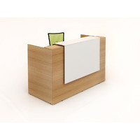 Sorrento Reception Desk Front Office Counter 1800mm Wide Gloss White Beech