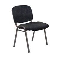 Rapidline Visitors Office Chair Black Frame Black Fabric Seat Stackable Nova