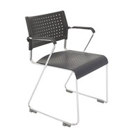 Rapidline Exam Classroom Seating Stackable Linking Black Plastic Chair With Arms Wimbledon