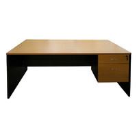 Swan Street Open Desk with key lock 1 Pencil 1 File Office Writing Table Furniture Computer PC 1800mm x 750mm Charcoal Beech
