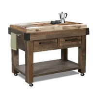 Melrose Timber Butchers Block Granite Top Mobile Kitchen Chopping Board Work Bench Island Trolley