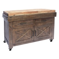 Tahoma Timber Butchers Block Hardwood Top Mobile Kitchen Chopping Board Work Bench Island Trolley